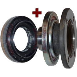 Oil seal + Flange: New type with dirt/mud seal - Front